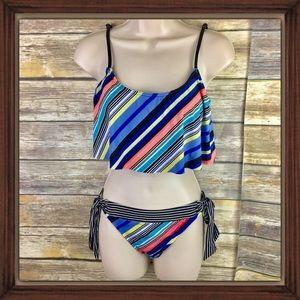 Kenneth Cole Reaction Stripes Flounce Bikini Set